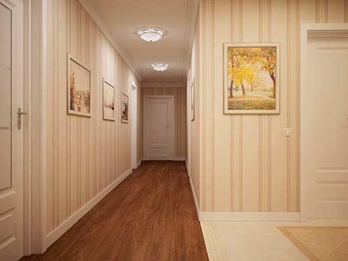 Светлые обои в коридоре визуально увеличивают пространство